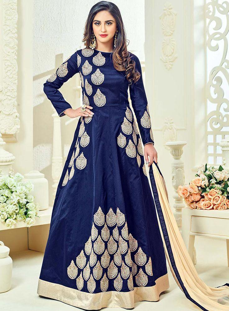 Krystle Dsouza Navy Blue Taffeta Floor Length Anarkali Suit 89304