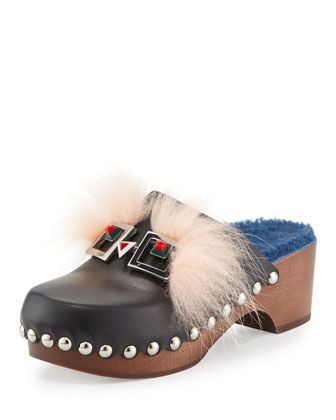 Fox-Fur+Shearling-Lined+Monster+Clog,+Nero/Cobalto/Palm+by+Fendi+at+Neiman+Marcus.