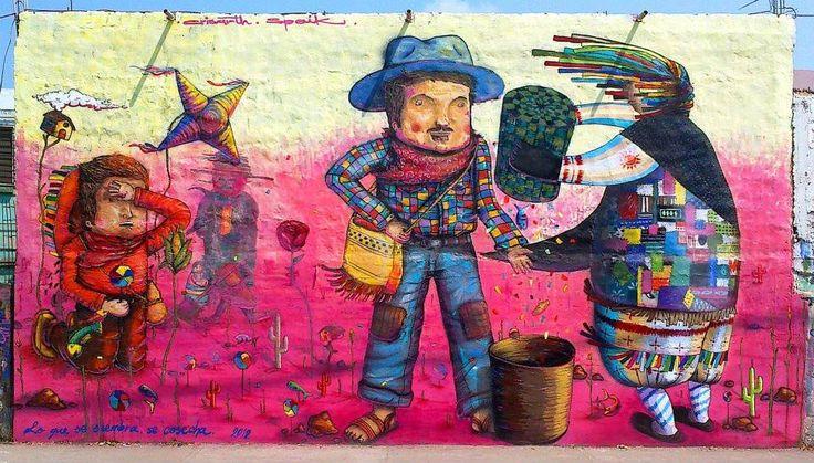 Crisarth. Obra: Lo que se siembra se cosecha. Carlos Loaiza + Daniel Larios. Arte Urbano. Graffiti.