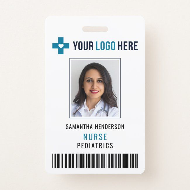 Hospital Medical Barcode Photo Id Card Badge Zazzle Com Hospital Doctor Clinic Logo Medical