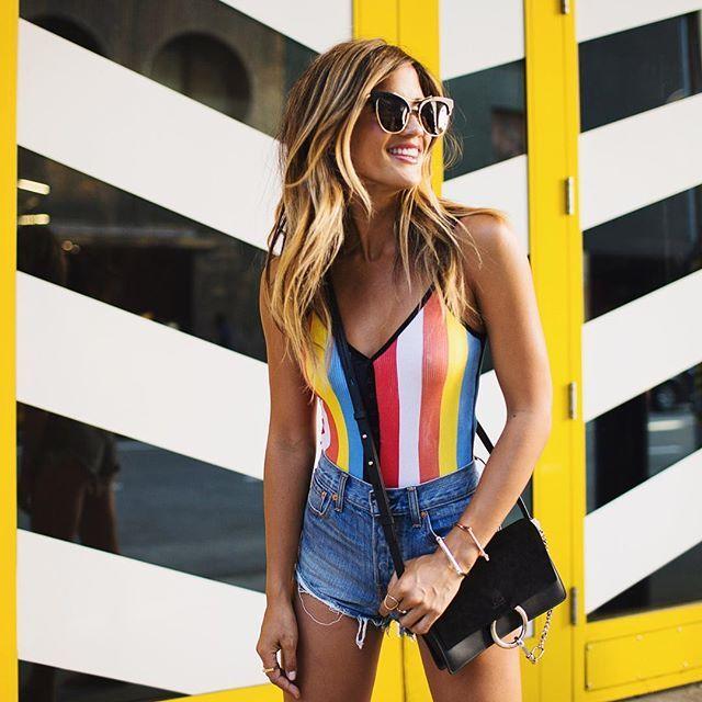 summer vacation multi-color stripe one-piece bathing suit funky sunglasses long hair hippie boho gypset fashion style rocky barnes fedora beach babe bikini jean shorts denim cut offs black purse