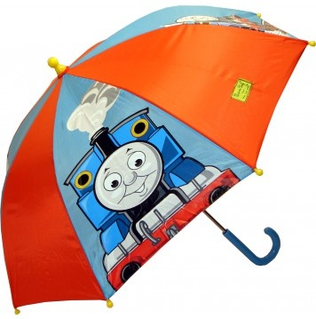 KIDS:  Thomas The Tank Engine Kids Umbrella  Thomas & Friends featured with alternating solid red panels. Features yellow rounded plastic tips and pinch-proof runner for added safety. Steel shaft and lightweight aluminum frame, curved plastic handle, manual opening and closing.    CAD $20.00    http://www.raindropsto.com/umbrellas/kids-umbrellas/thomas-the-tank-engine-kids-umbrella