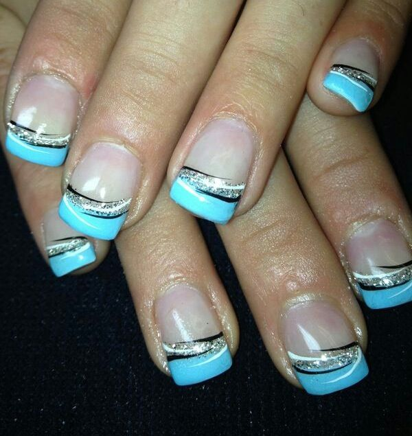 blue gel nails with royal
