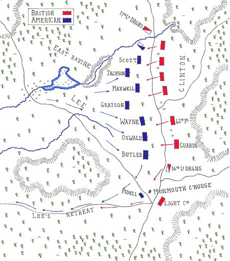 Map of the Battle of Monmouth 28th June 1778 first part by John Fawkes