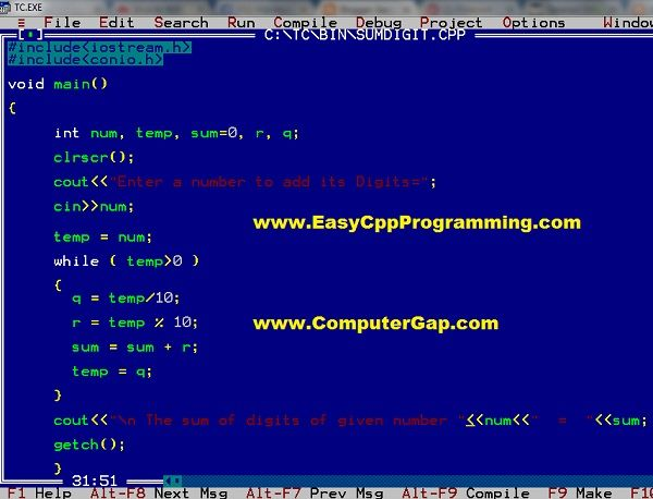 Easyway How To Write Programs in C / C++: Program Find Sum of Digits of