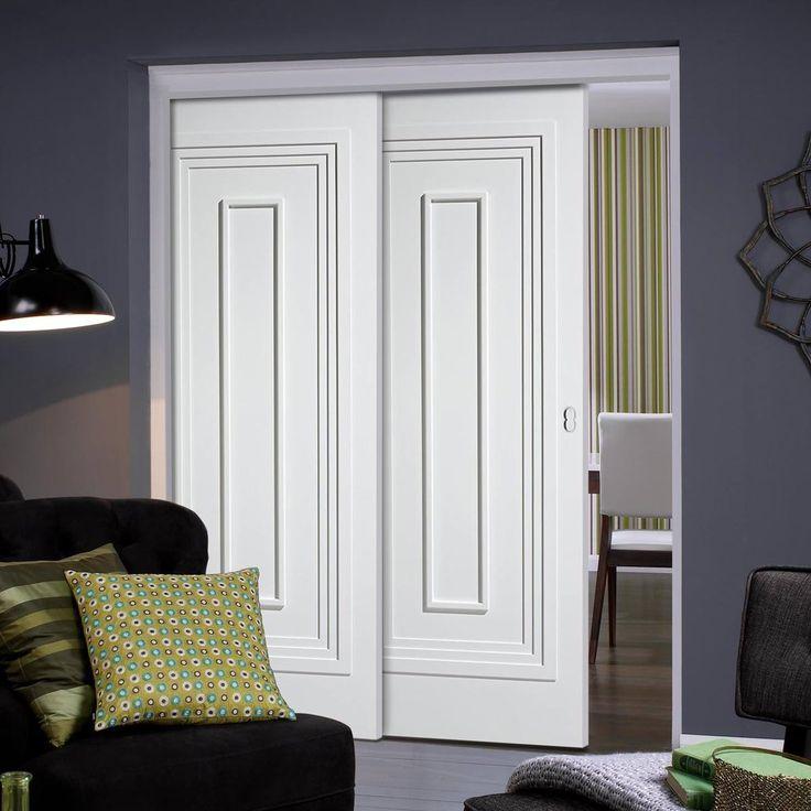 Twin Telescopic Pocket Atlanta White Primed Doors.    #whitedoors #panelleddoors #pocketdoors #hiddendoors #telescopicdoors moderndoors #lpddoors #interiordesign #moderniinteriordoors