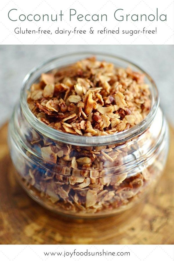 Healthy Coconut Pecan Granola Recipe! Oatmeal, shredded coconut, pecans, coconut oil, and honey all come together to make the best granola ever! Gluten-free, dairy-free, and refined-sugar free! A delicious and nutritious choice for breakfast!