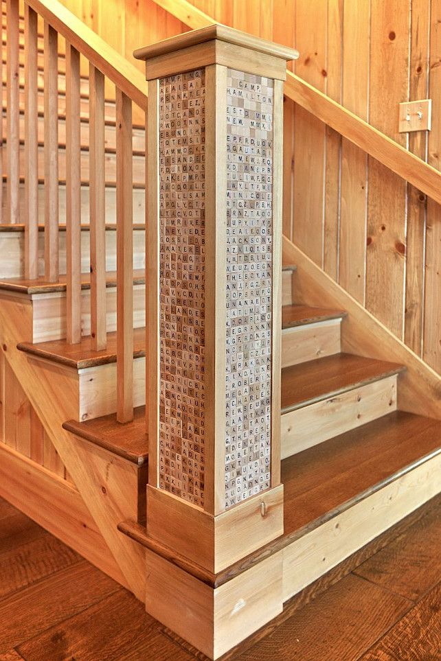 Scrabble tile staircase millwork