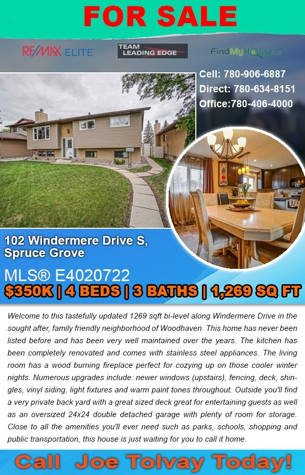 FOR SALE 102 Windermere Drive S, Spruce Grove For $350K