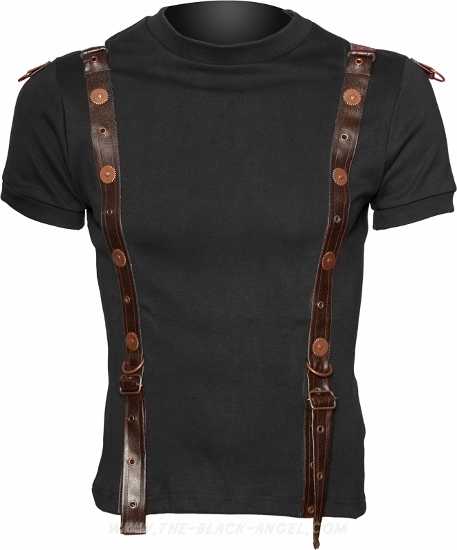 Gothic men's t-shirt from the steampunk clothing line by Raven SDL, with metal cogs detail.