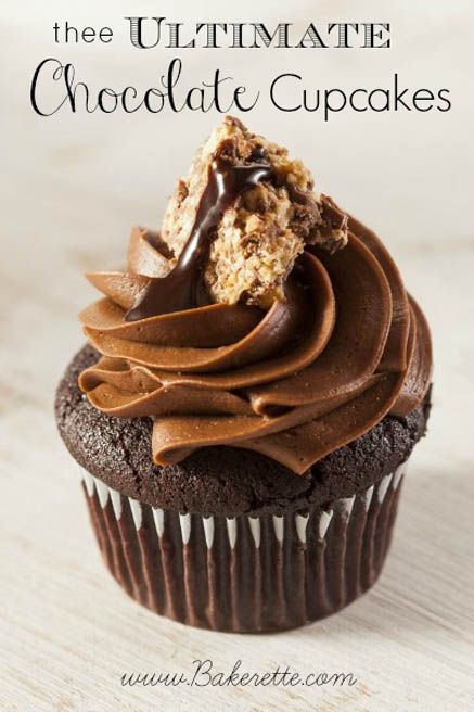 The Ultimate Chocolate Cupcakes with Ganache Filling - the title pretty much says it all. Triple the chocolate, triple the pleasure. The ultimate experience - Moist chocolate cake filled with a creamy chocolate ganache and topped high with a silky chocolate frosting.