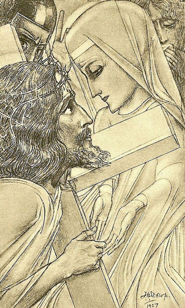 Station 4: Christ Meets His Mother. Artist: Jan Toorop (1917)
