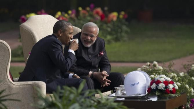 President Barack Obama and Indian Prime Minister Narendra Modi have coffee and tea in the gardens of the Hyderabad House