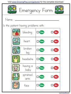 Preschool doctor what s wrong chart classroom pretend emergency