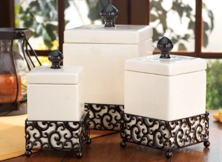 Amazon Com Set Of 3 Attractive Ceramic Canisters In A