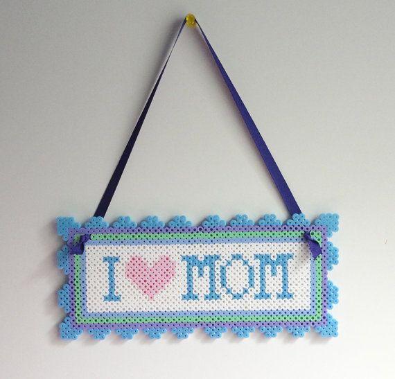 I love Mom Wall Hang perler beads decor by ThinkPinkyPink