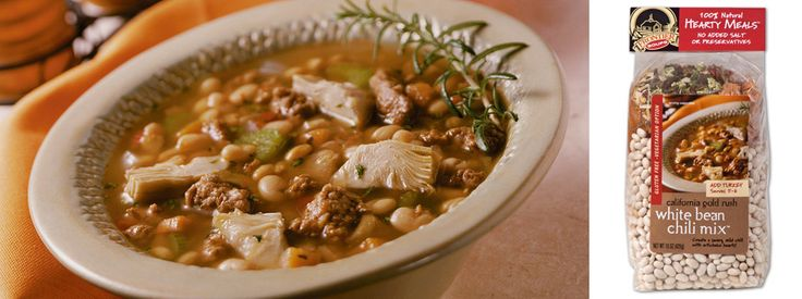 A savory and heartwarming white bean chili mix with mild peppers and sweet potatoes, add artichoke hearts for this California style meal.  Now sold in my store