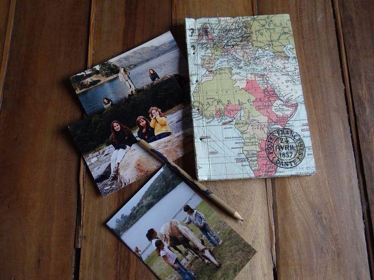 Cuaderno artesanal con encuadernación copto. Diseño de tapas con mapas. USD 15.