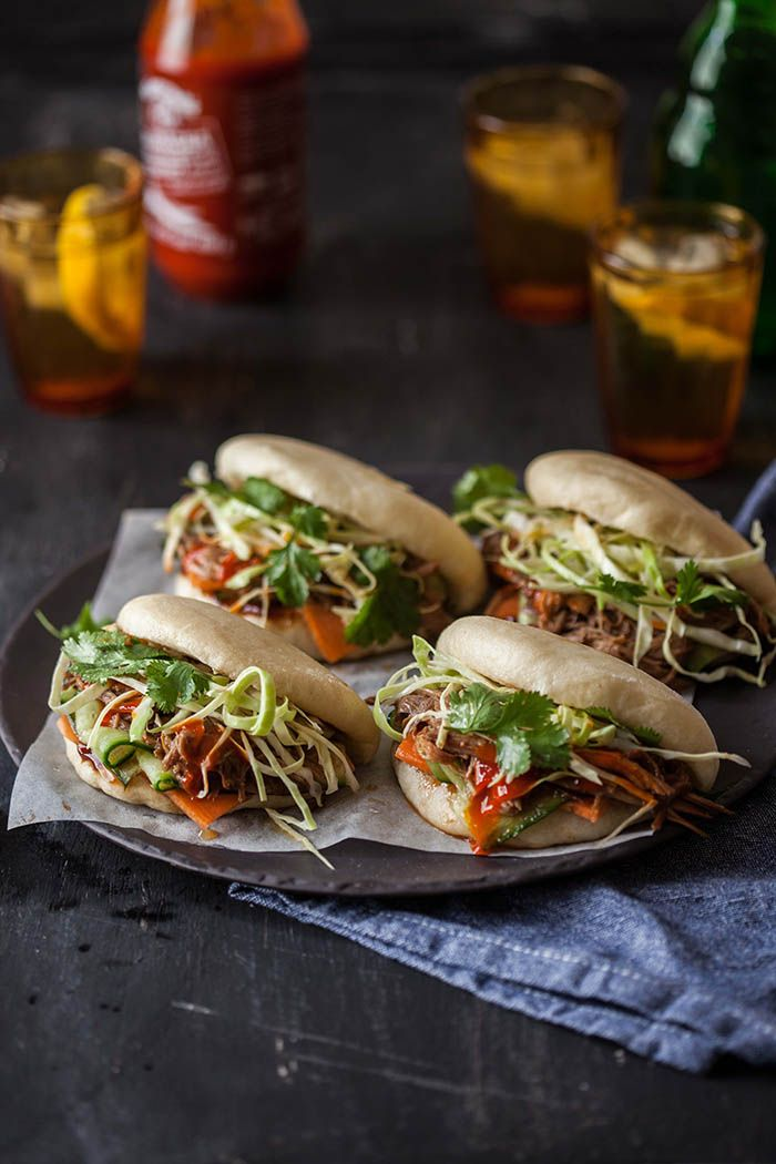 asian // gua bao with hoisin and ginger pulled pork
