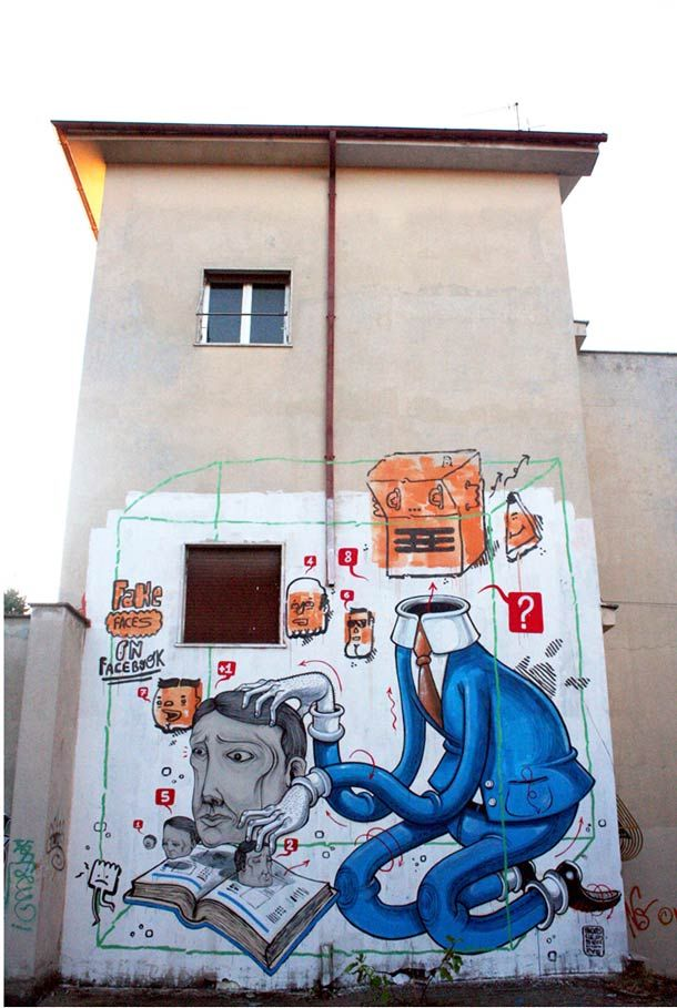 Best STREET ARTIST MR THOMS Images On Pinterest Street - Cartoon mural man obsessing facebook likes says lot society