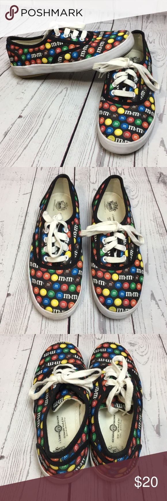 "Bradford Exchange M&M Sneakers Women's Shoe sz 6 These cute M&M shoes are in good pre-owned condition. They show some signs of wear but are clean. Thank you Goodwill for marking a big ""C"" on the soles 😒 Women's size 6 Comes from a smoke free home Any questions please don't hesitate to ask. Bradford Exchange Shoes Sneakers"