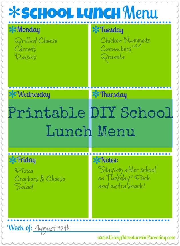 Printable Weekly Lunch Menu with Cool Back-to-School Lunch Recipe Ideas