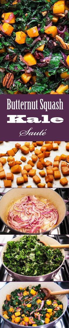 Great side dish for the holidays! Roasted cubes of butternut squashed tossed with balsamic sautéed onions, kale, pecans, dried cranberries. Easy! Comes together in the time it takes to roast the squash. Delicious and #vegan! On SimplyRecipes.com