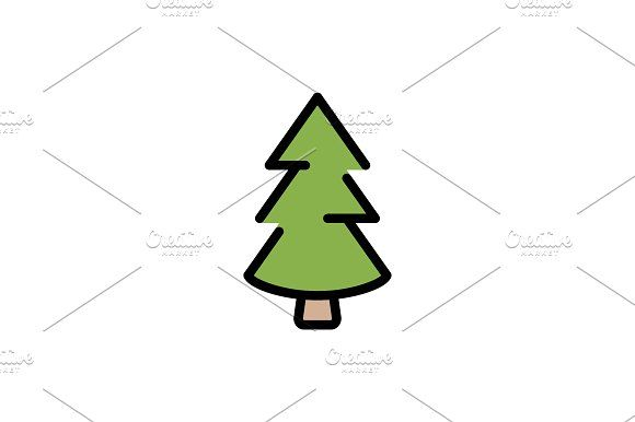 Christmas Tree Fir Tree Color Icon In 2020 Fir Tree Simple Christmas Tree Christmas Tree