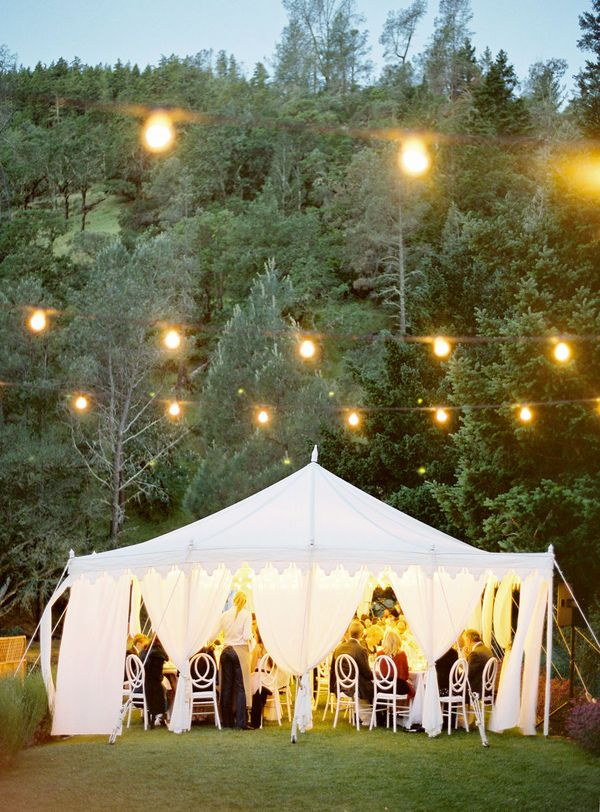 white tent: Tent Weddings, Dream, Weddings Receptions, String Lighting, Outdoor Events, Party, Weddings Idea, Hanging Lighting, Outdoor Receptions
