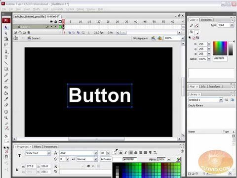 Creating, Animating Advanced Rollover Buttons in Flash CS3 - YouTube