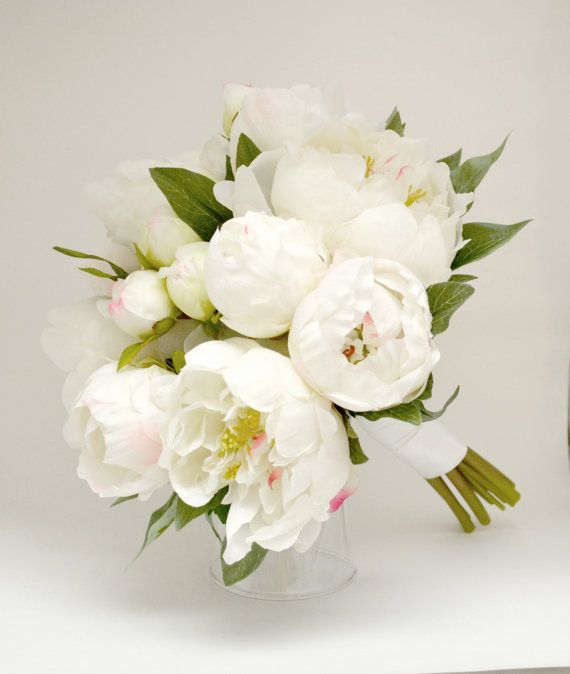 Peony Bouquet White Ivory Cream By Blueorchidcreations 70 00 Bouquets In 2019 Peonies Wedding Flowers