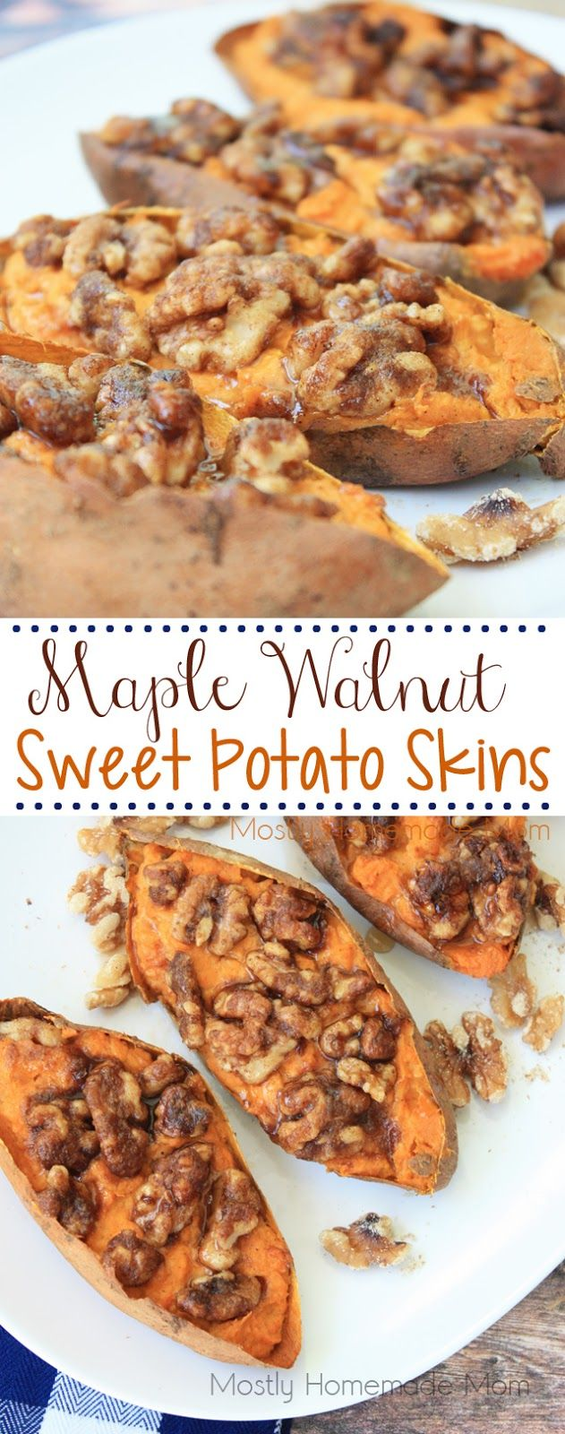 Maple Walnut Sweet Potato Skins - the perfect appetizer recipe or side dish this fall! Oven roasted sweet potatoes with brown sugar, walnuts, and spices! @cawalnuts #walnuts #CG #ad
