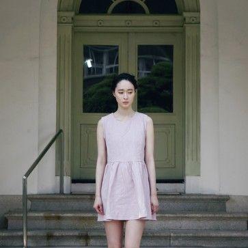 [Creamy Pink Dress: Light Pink] A #dress featuring cutouts on sides. Round neckline. Sleeveless. Back zipper placket. Shirred skirt. #pinkdress #summerdress #koreandress #asiandress #cutedress #fashiontoany