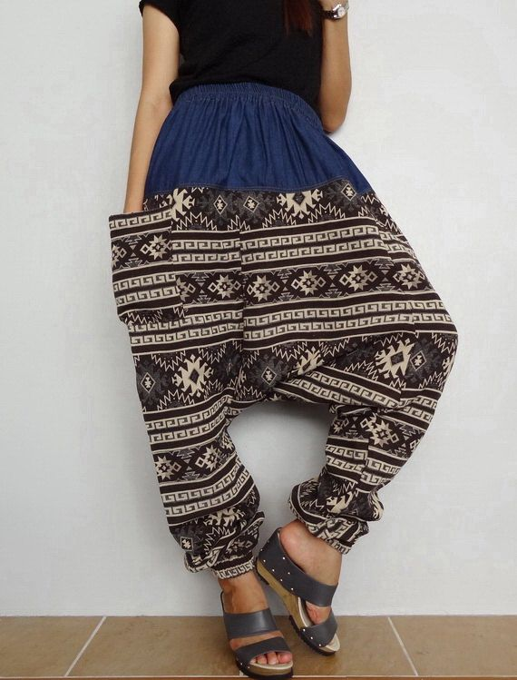 Brown Harem Drop crotch pant,Unisex Baggy Trouser, Tribal Woven  and Denim fabric(pants-W9). by Brightfashion on Etsy