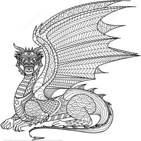Zentangle de Dragón Dibujo para colorear