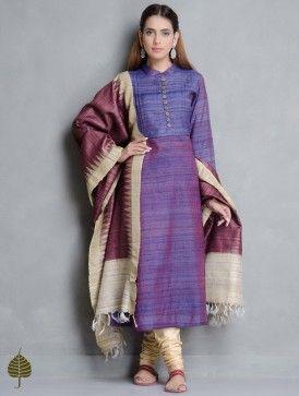 Blue-Purple Tussar Gicha Pleated Neck Kurta by Jaypore