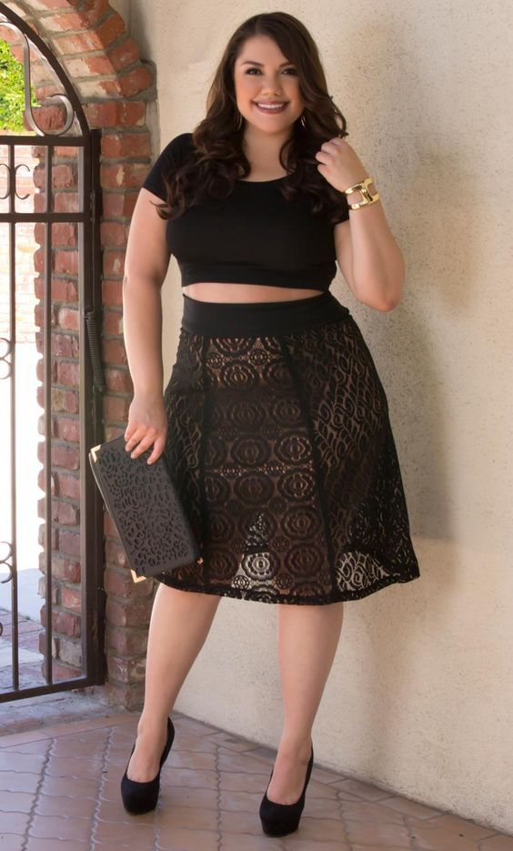 Curvalicious Clothes :: Plus Size Bottoms :: Muse Lace Midi Skirt - Onyx