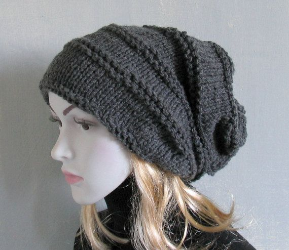 Hand knitted warm slouchy beanie for women Mens Chunky Knit