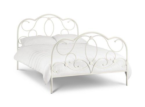 arabella is a traditional style bed frame with a stone white finish and detailed metal work on both high head and footboard