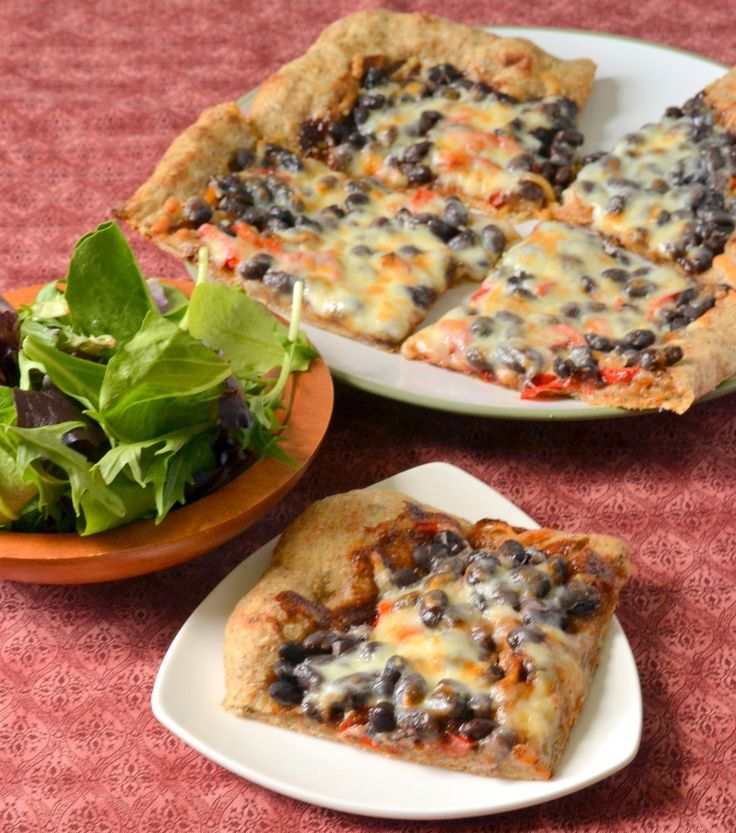 BBQ Black Bean Pizza (Sub cauliflower crust for whole wheat crust.)