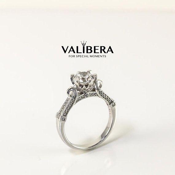 Grosse Art Deco Solitar Verlobungsring Versprechen Ring Vintage