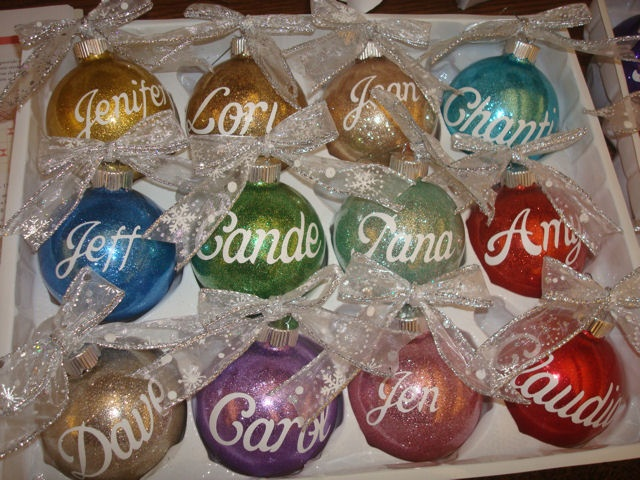 Glitter Balls With Vinyl And Ribbon (With Bow Easy)