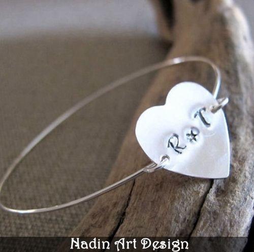 Personalisiertes Herz-Armband - Sterlingsilber von NadinArtDesign auf DaWanda.com