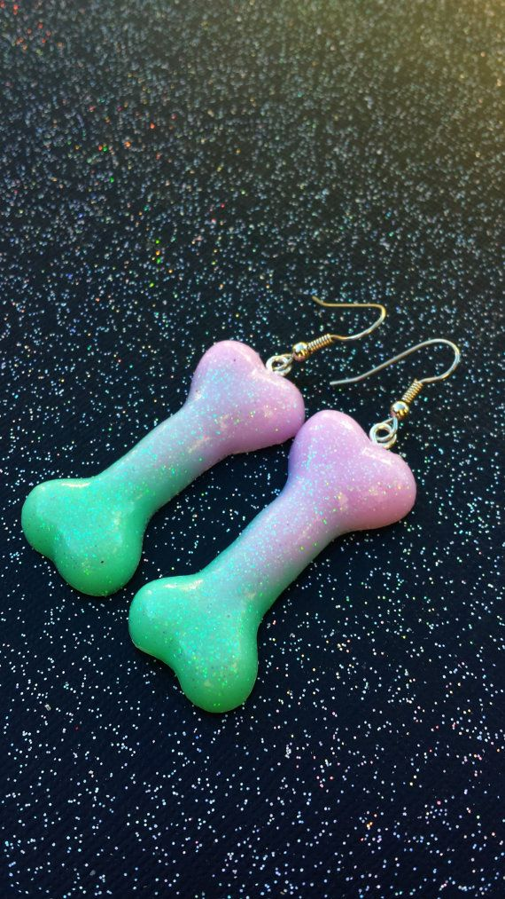 Bone Earrings / Dangle Bone Earrings / Pastel Goth Earrings / Grunge Accessories / Creepy Cute Earrings / Gothic Ear Rings / Creepy Jewelry