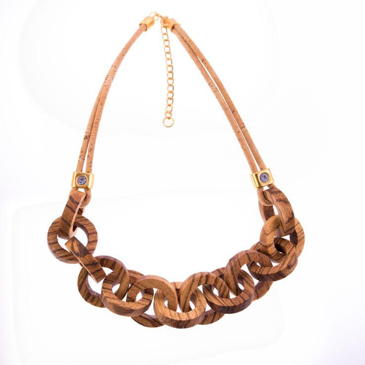 Round Zebrano Wood Necklace with Cork