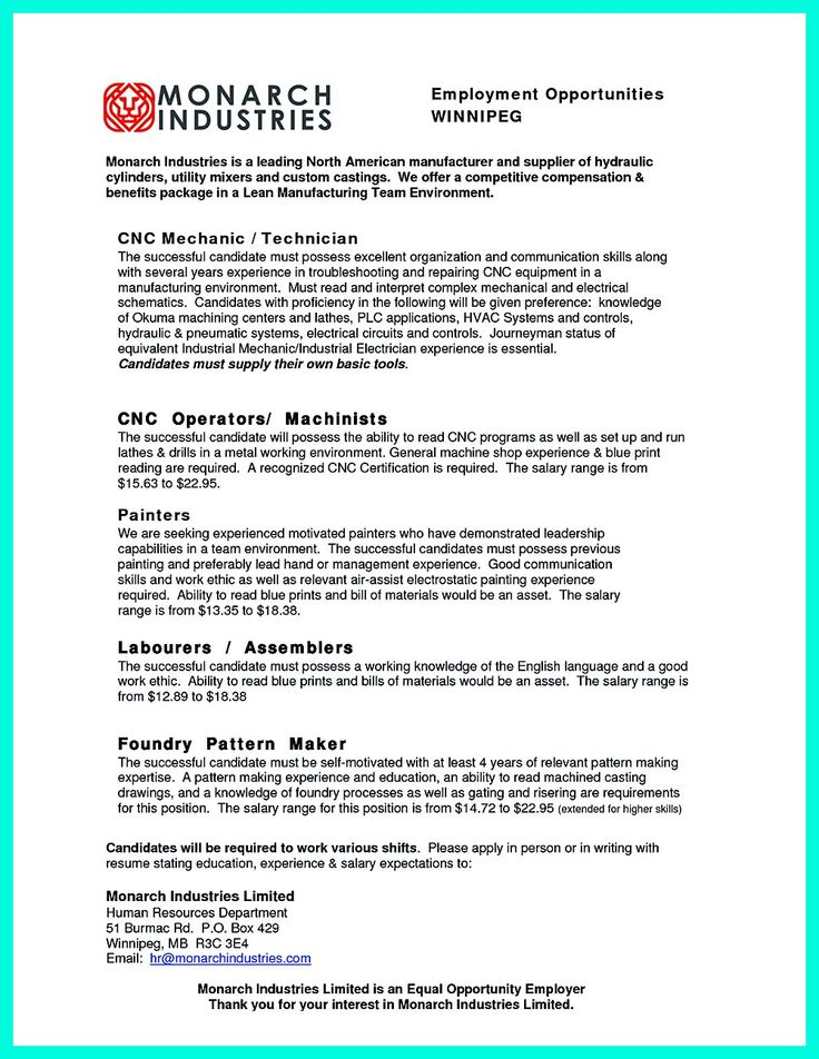 Conventional machinist resume