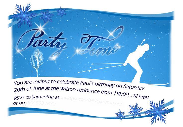 Skiing party invitation