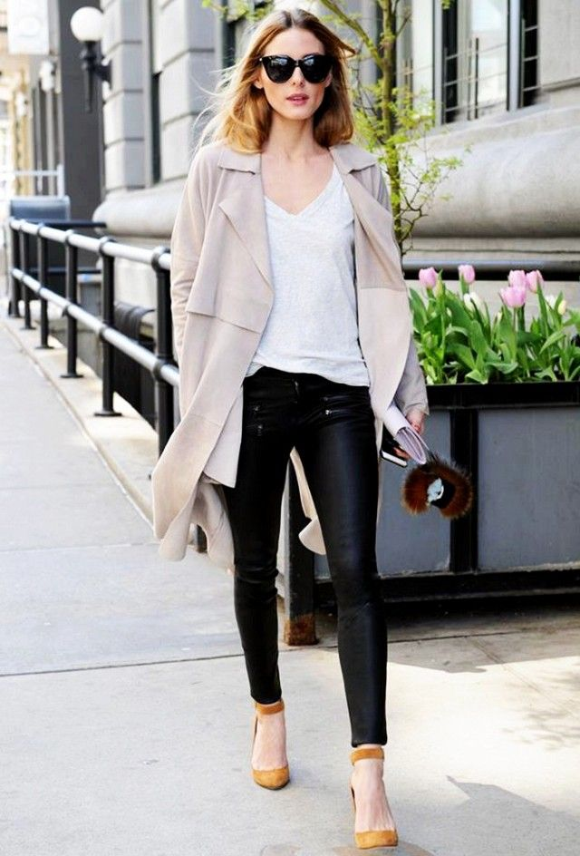 On Olivia Palermo: Old Navy Relaxed Tee ($7); Paige The Edgemont Ultra Skinny Jeans ($269); Jimmy Choo heels.