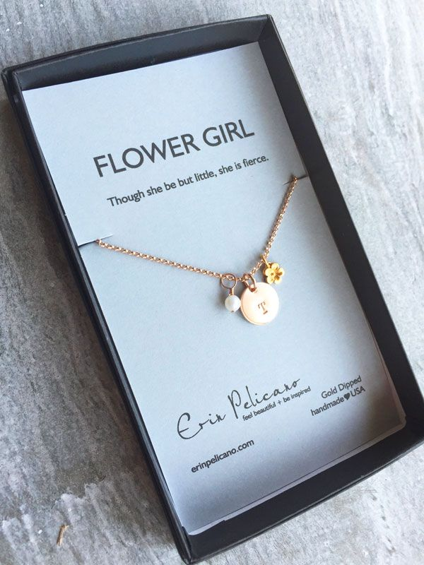 Flower Girl Jewelry Gift. Initial Necklace for little Girls