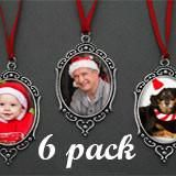 6 Pack Vintage Style Oval Photo Christmas Ornament Blanks Decorations w/ Red Ribbon Hangers Kit